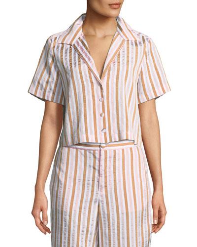 Short-Sleeve Button-Down Striped Crop Shirt