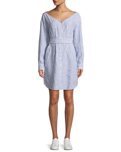 Striped V-Neck Button-Down Linen Dress