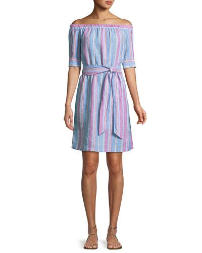 Off-the-Shoulder Striped Linen Dress