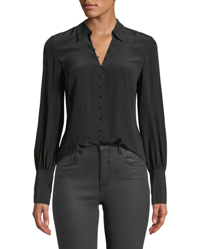 Naomi Button-Front Silk Blouse