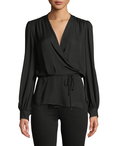 Cara Long-Sleeve Silk Wrap Blouse