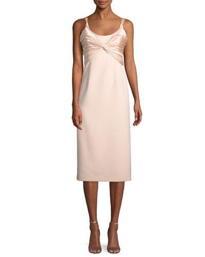 Amina Scoop-Neck Sleeveless A-Line Dress w/ Ruched Bodice