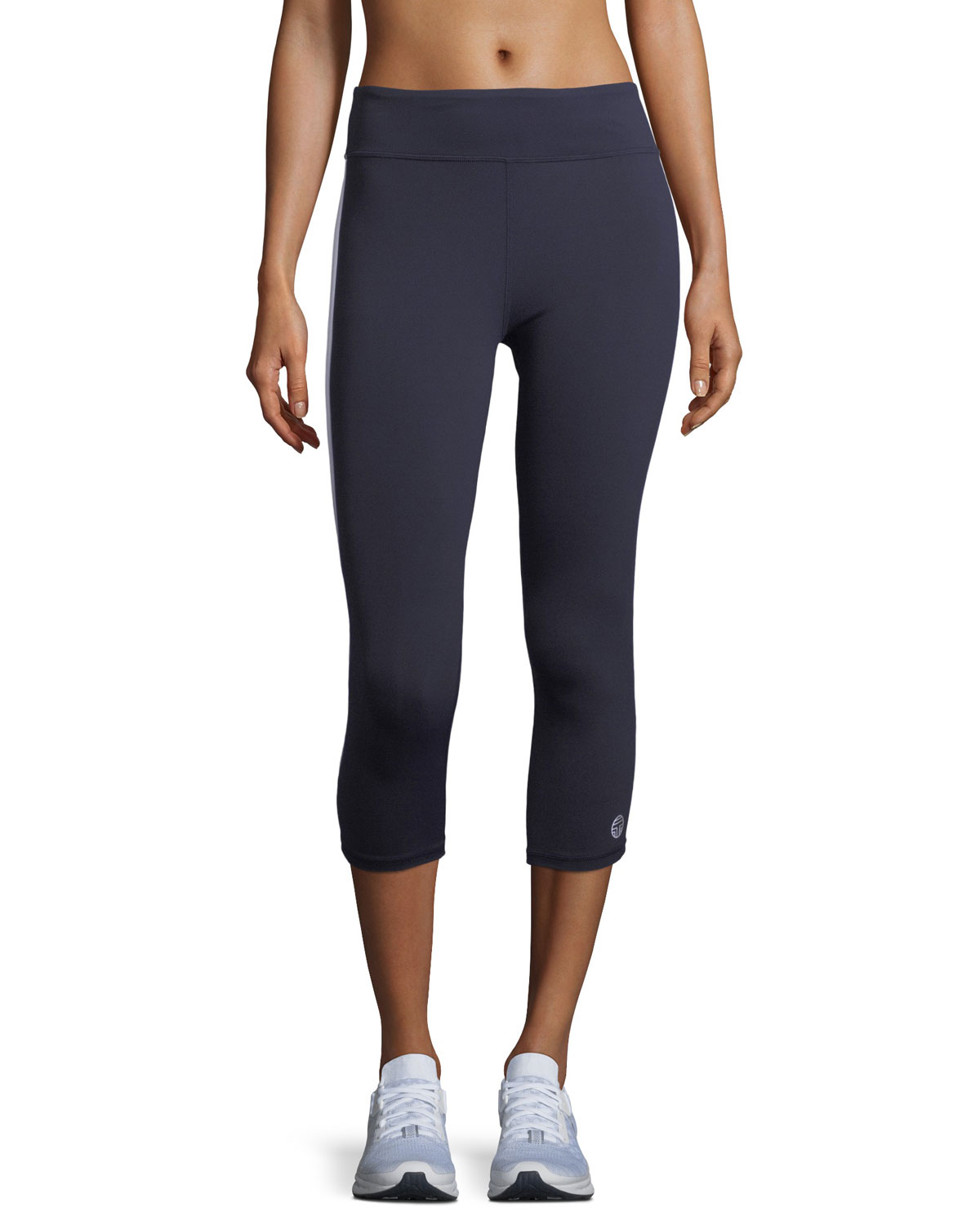 Tory Sport Pants HIGH-VISIBILITY REFLECTIVE-STRIPE CROPPED LEGGINGS