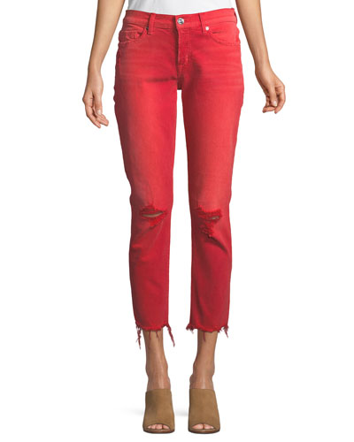 Riley Relaxed Straight-Leg Crop Jeans w/ Raw Hem