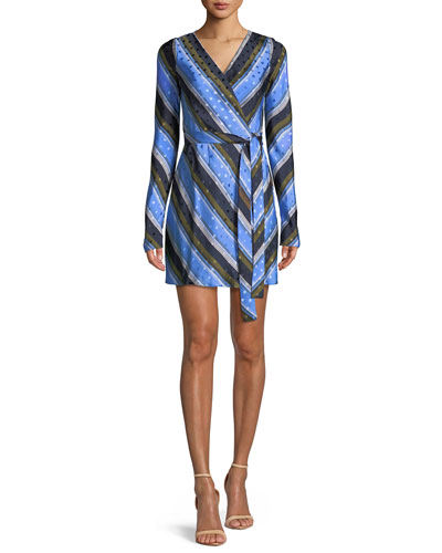 Long-Sleeve Mini Woven Wrap Dress