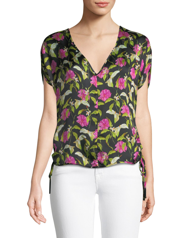 Floral-Print Silk Dolman Top