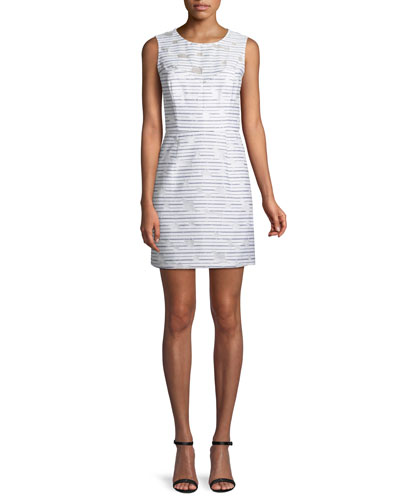 Nina Striped Sleeveless Sheath Dress