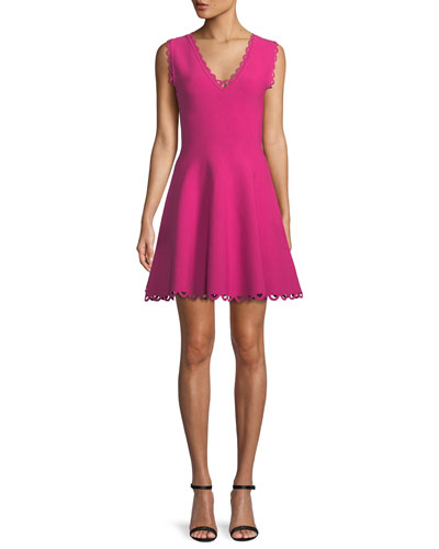 c780692d5d Scalloped-Trim Fit-and-Flare Dress Quick Look. Milly