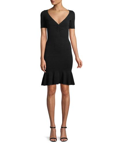 Shirred V-Neck Flounce-Hem Dress