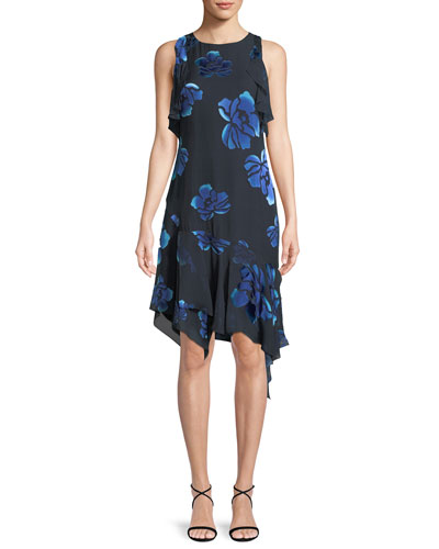 Serenity Floral-Burnout Ruffled Dress