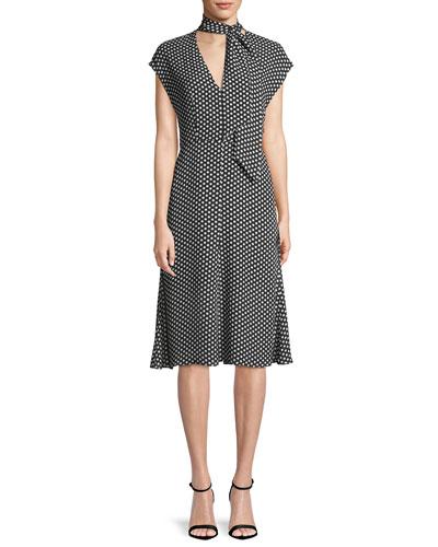 Gabby Polka-Dot Silk Tie-Neck Dress