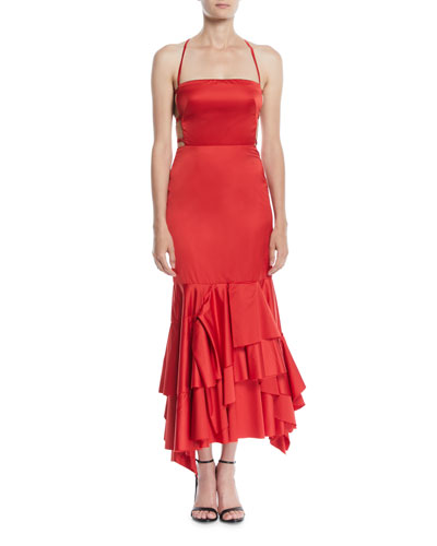 Doria Strappy-Back Satin Apron Dress