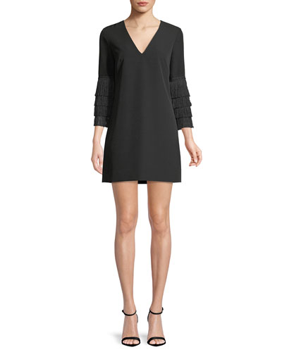 Nicole Fringe-Cuff Shift Dress