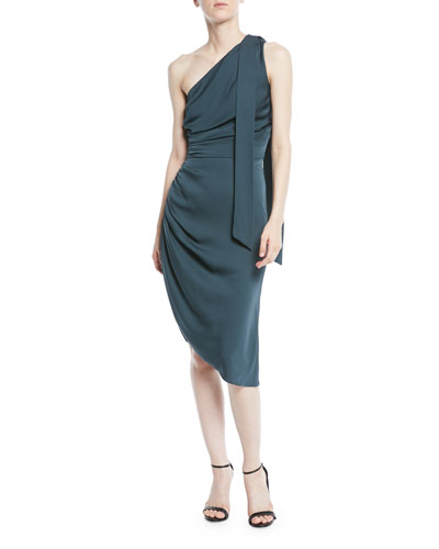 Coleen Stretch-Silk One-Shoulder Dress