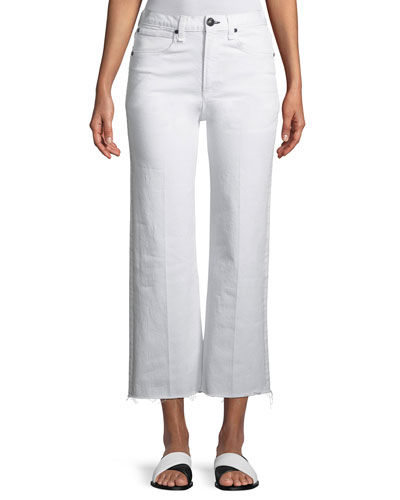 Justine High-Rise Wide-Leg Ankle Jeans w/ Released Hem