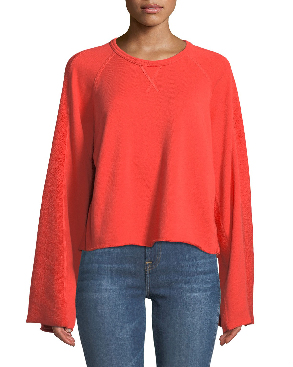 Crewneck Flare-Sleeve Crop French Terry Sweatshirt