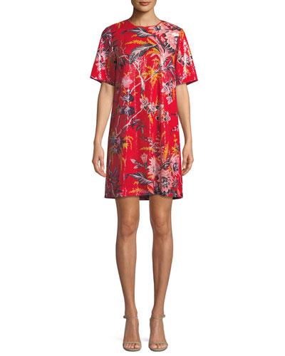 Sequined Floral-Print Short-Sleeve Shift Dress