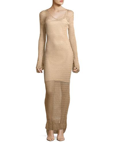 Maureen Long-Sleeve Crochet Maxi Dress