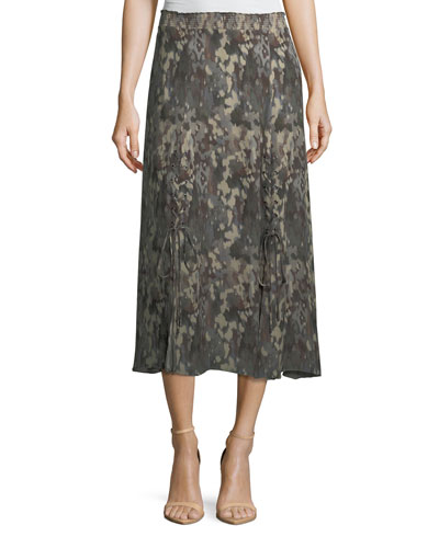 Solo Printed Silk Midi Skirt
