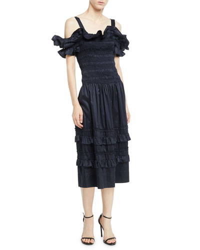 8f456963b0a Off-the-Shoulder Smocked Ruffle Dress Quick Look. Rebecca Taylor