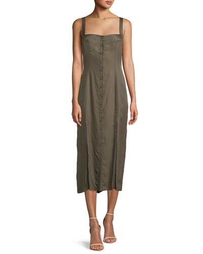 Alexa Sleeveless Button-Front Midi Dress