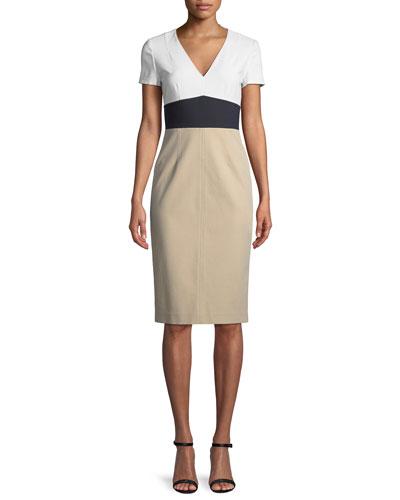 Colorblock V-Neck Tailored Dress
