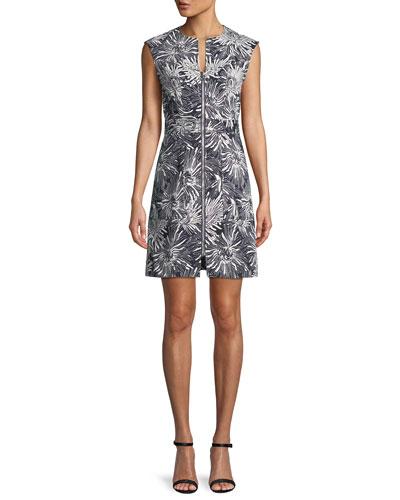 Printed Zip-Front Short-Sleeve Sheath Dress