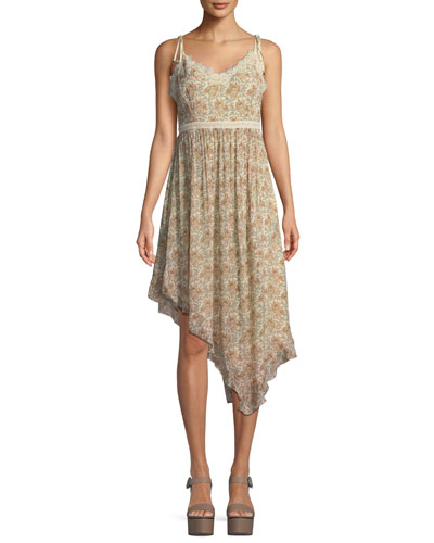 Aubrey Botanical Floral-Print Georgette Midi Dress w/ Lace