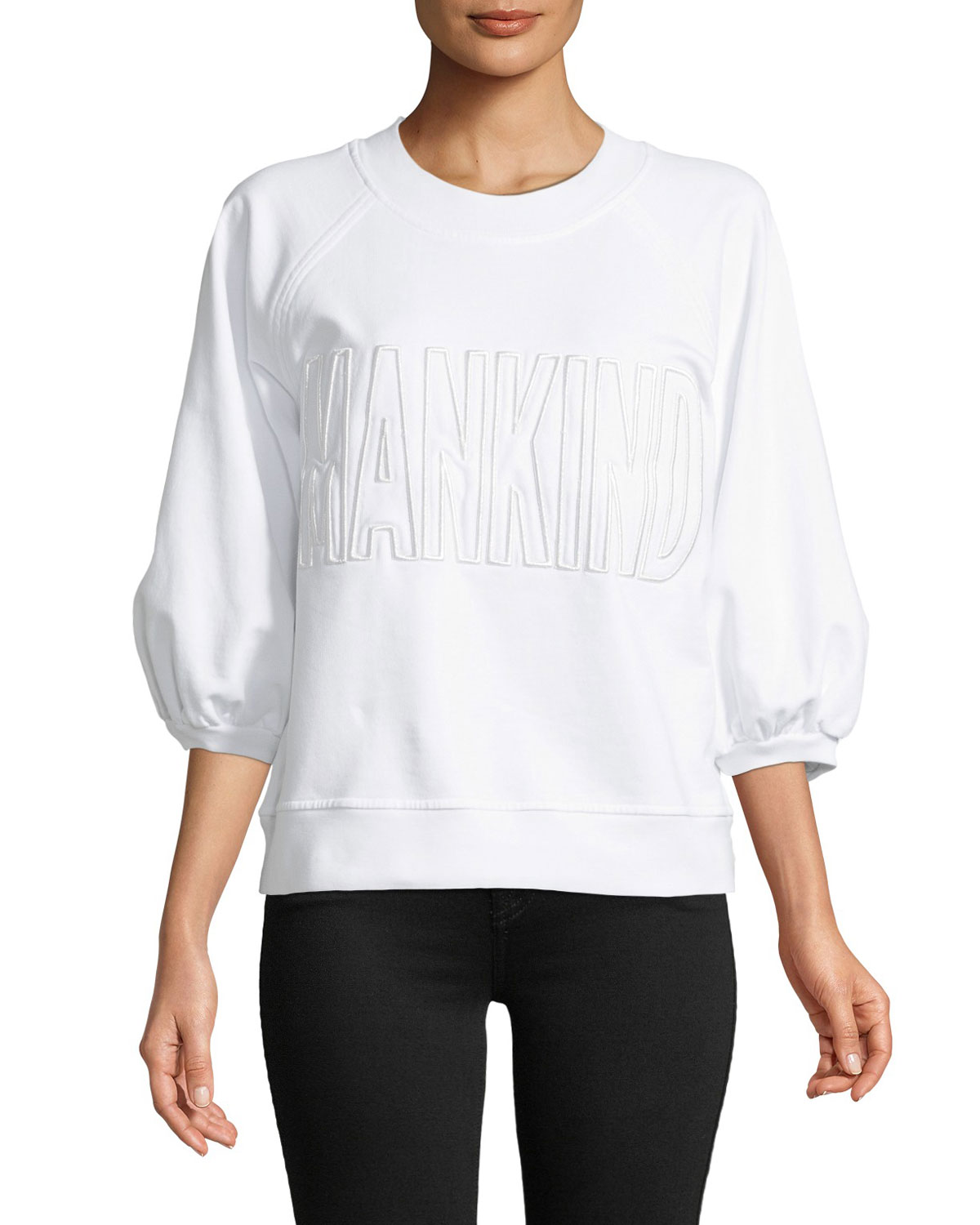Mankind Embroidered 3/4 Puff Sleeve Sweatshirt