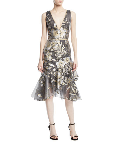 Metallic Fil Coupé Asymmetric Ruffle Cocktail Dress