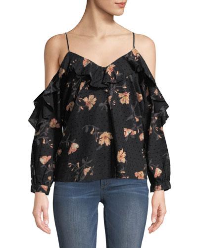 Arabeth V-Neck Cold-Shoulder Floral-Print Cotton Dobby Blouse