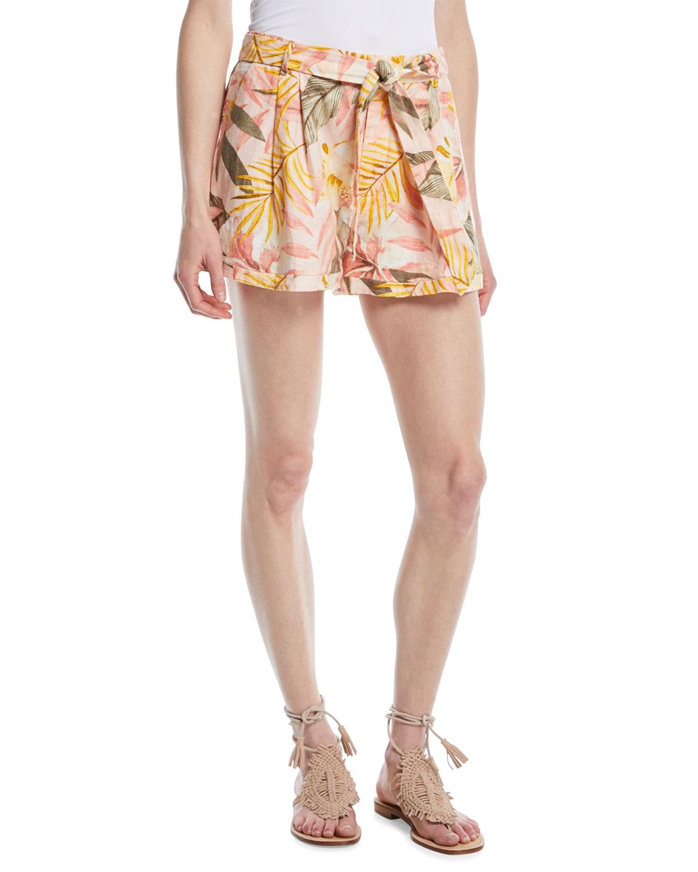Jaklynn Leaf-Print Pleated Linen Shorts, Pink