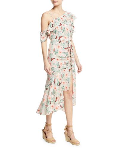 Jamima Printed One-Shoulder Midi Dress