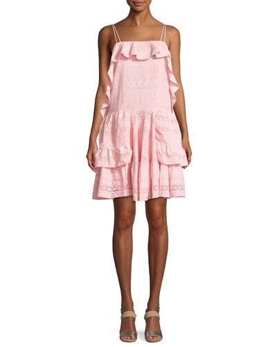 Deconstructed Sleeveless Broderie Mini Dress