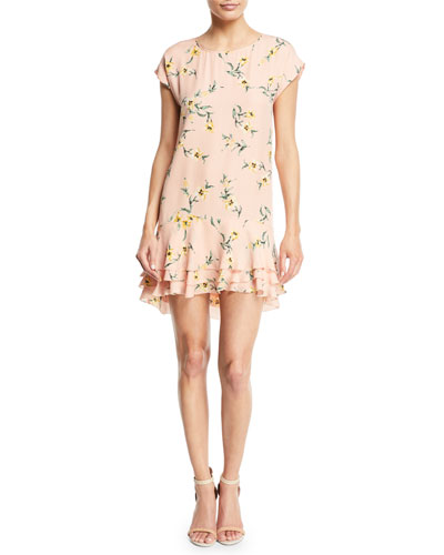Coreen Round-Neck Floral-Print Silk Shift Dress with Flounce Hem