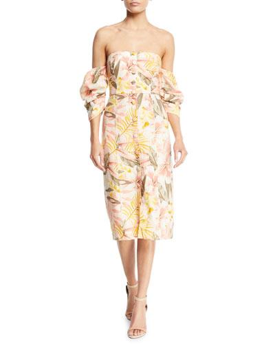 Seldy Off-the-Shoulder Floral-Print Linen Dress