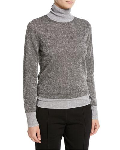 High-Neck Metallic-Knit Sweater