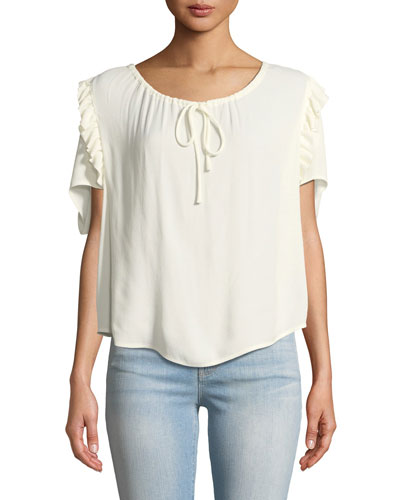Scoop-Neck Ruffle Short-Sleeve Top
