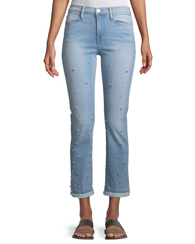 Le High Pearl Straight-Leg Cropped Jeans