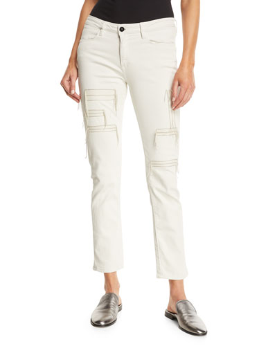 Hypnos Slim Straight-Leg Cropped Jeans w/ Stitching Details