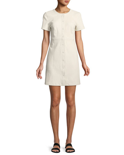 Easy Snap-Front Short-Sleeve Leather Mini Dress