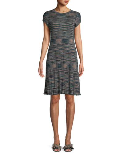 Ribbed Space-Dyed Cap-Sleeve Dress