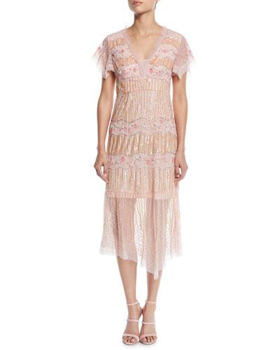 Jeweled V-Neck Pleated Dress