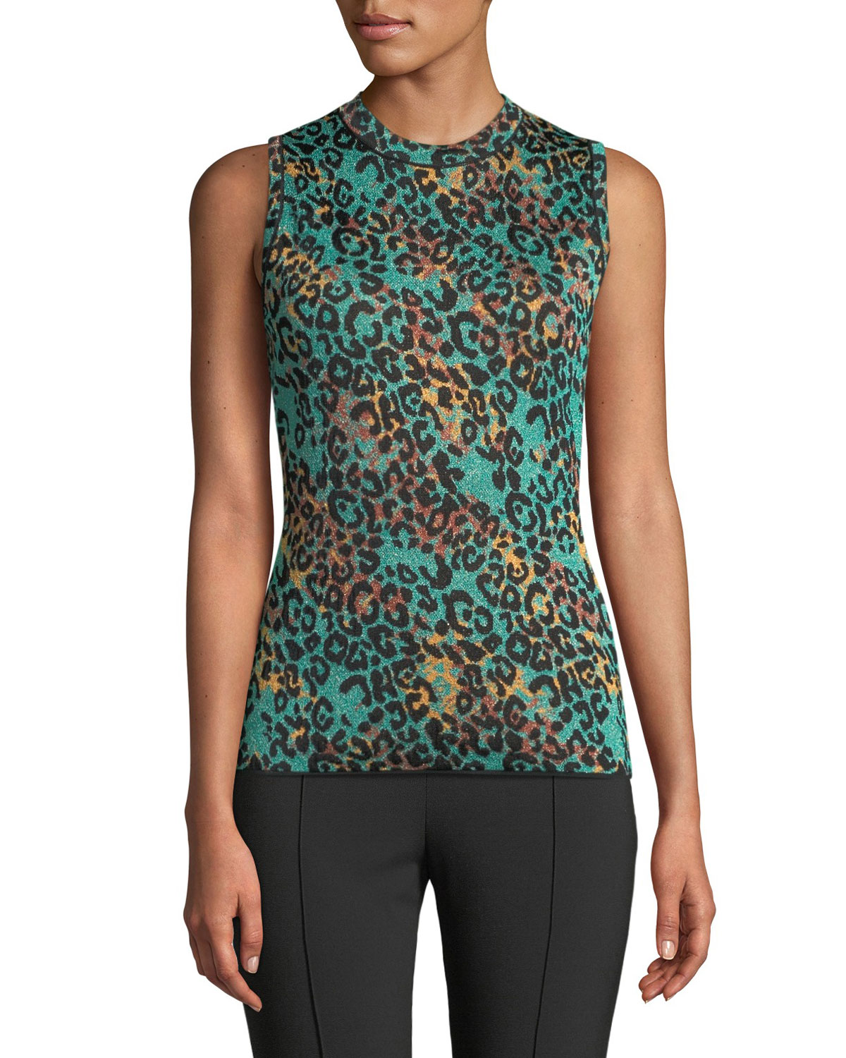 Metallic Animal-Print Sleeveless Top