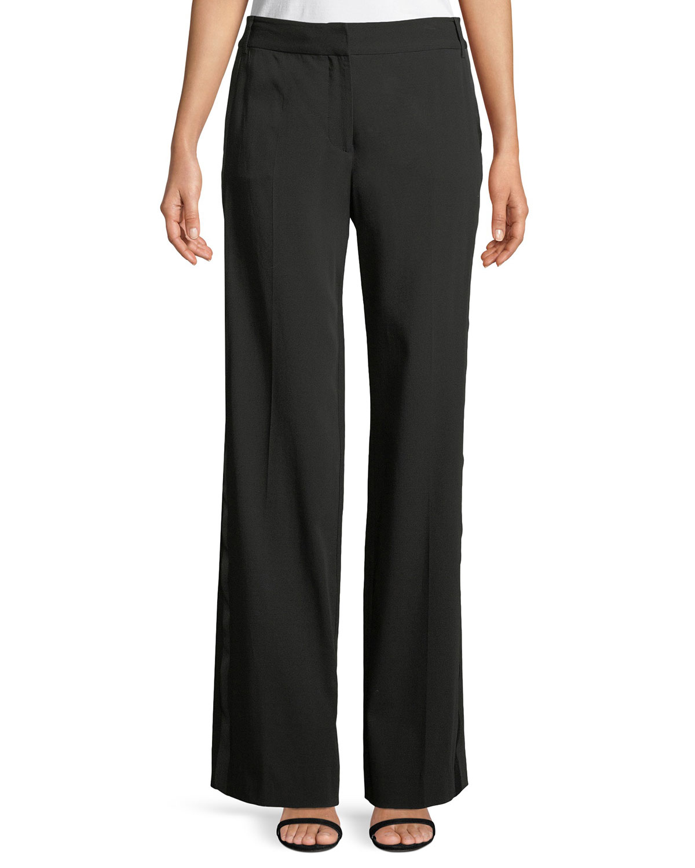Hagan Wool-Crepe Trousers With Duchess Satin Trim, True Black