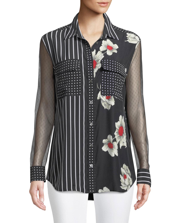 Mix Media Signature Floral-Print Silk Button-Down Blouse