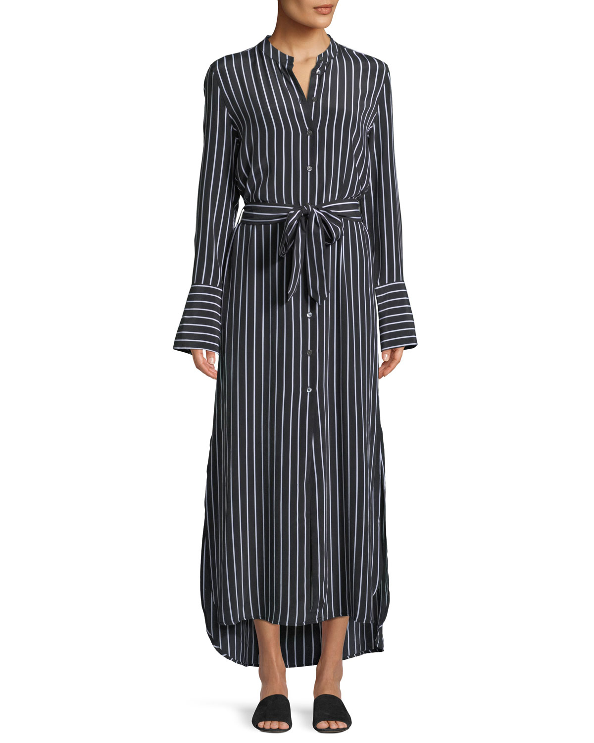Connell Excellence Striped Silk Button-Front Maxi Dress in Black