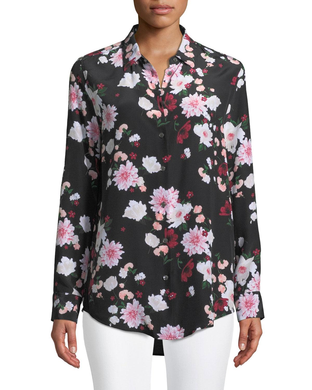Essential Garden Party Print Silk Blouse, True Black Multi