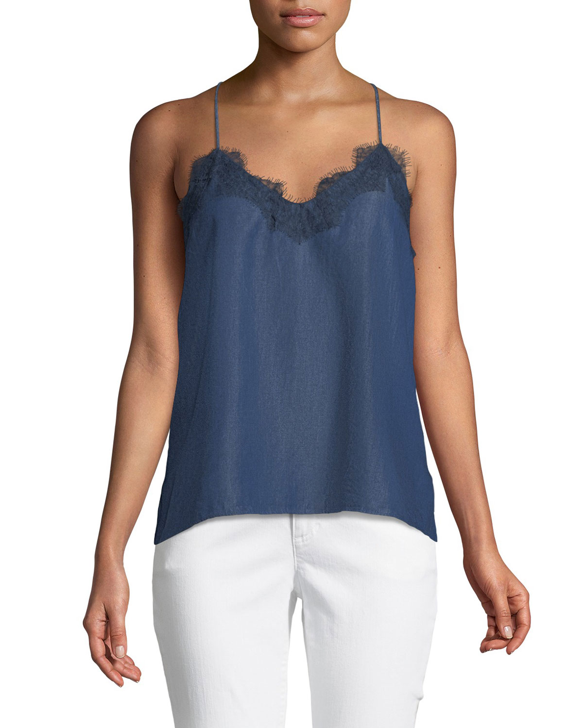 Cami Nyc THE RACER CHAMBRAY CAMI TOP WITH LACE TRIM