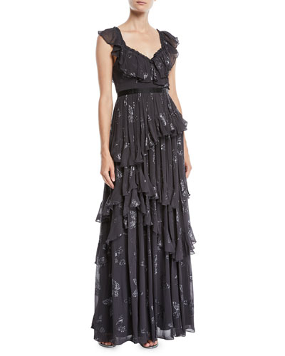 Lurex® Butterfly Tiered Ruffle Gown